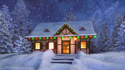 Wall Mural - Cozy snowbound half-timbered rustic house decorated for Christmas among snow covered fir forest at snowfall winter night. 3D illustration for Xmas or New Year holidays.
