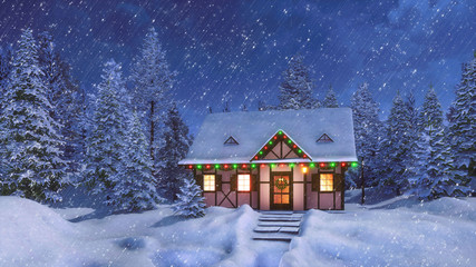 Wall Mural - Snow covered half-timbered rustic house decorated for Xmas and illuminated by christmas lights garlands among fir forest at snowfall winter night. Festive 3D illustration.