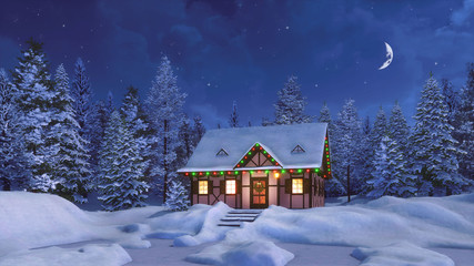 Wall Mural - Cozy half-timbered rustic house decorated for Christmas among snow covered fir forest at calm winter night with half moon in the sky. 3D illustration for Xmas or New Year holidays.