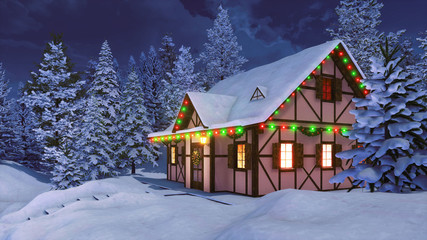 Wall Mural - Cozy half-timbered rustic house decorated for Xmas and illuminated by christmas lights garlands among snow covered fir forest at winter night. With no people 3D illustration.