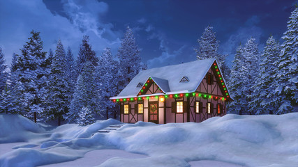 Wall Mural - Dreamlike winter scenery with snowbound half-timbered rural house decorated by christmas lights among snow covered pine forest at night. 3D illustration for Xmas or New Year holidays.
