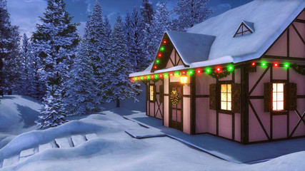 Wall Mural - Facade of snowbound half-timbered rural house decorated for Xmas with christmas lights, wreath and garlands among snowy fir forest at winter night. Festive 3D illustration.