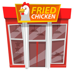 Fried chicken cafe, fast food style. Vector building, facade exterior design illustration. Restaurant serving unhealthy dishes like crispy nuggets and drumstick. Cafeteria with american junk meals