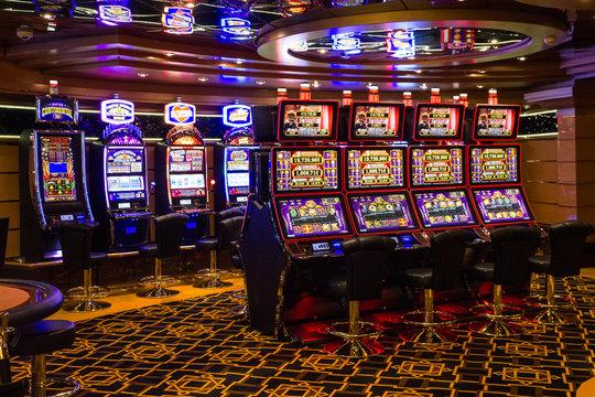 Splendida cruise vessel - March 22, 2019: Casino interior on Splendida cruise liner