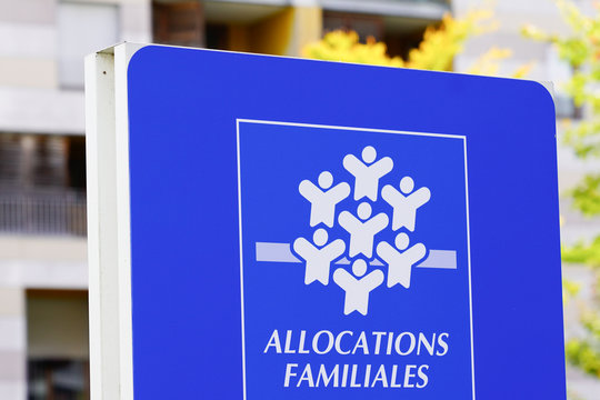Caisse allocations familiales logo sign means caf Family Allowances Fund office