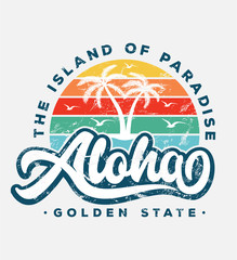 aloha beach typography slogan with palm tree illustration. theme vintage print design for fashion print and other uses