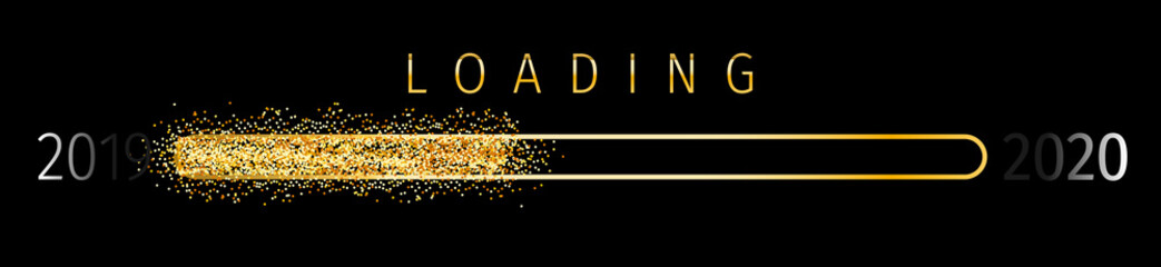 Sparkle Loading 2020 (Ladebalken 2020) - Loading Bar 2020. Loading 2020 New Year - New Year Countdown 2020 Vector. New Year 2020 Greetings Loading.