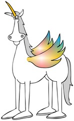 White unicorn with colored wings