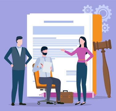 Man and woman character discussing, documents and gavel. Portrait view of people resolving legal problems, broker collaboration, partnership and law vector