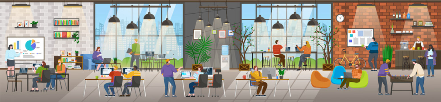 Coffee shop and office in one building. Coworking people at work. Characters on business meeting brainstorming on new project. Personages in drinking tea beverage at coffeehouse vector in flat