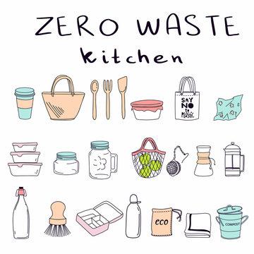 Hand drawn elements of zero waste kitchen life in vector