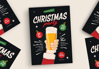 Graphic Christmas Party Flyer Layout