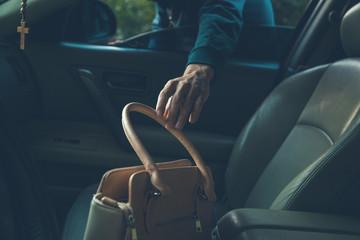 a thief steals bag in car