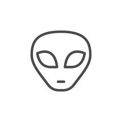Alien face line outline icon
