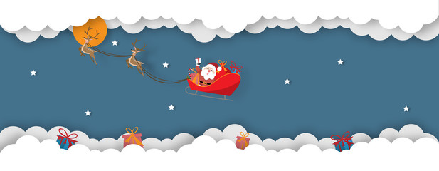 Christmas celebrations with Santa Claus riding reindeer sleigh Merry Christmas paper cut style - Vector illustration.