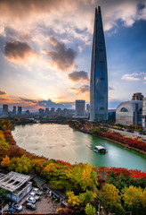 Aluminium Prints Seoul view of the city in autumn at seoul city south korea