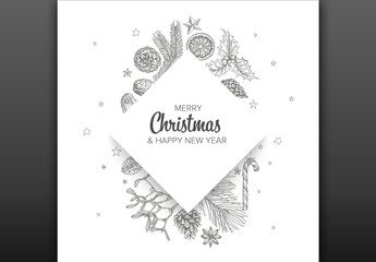 Christmas Card Layout with Hand Drawn Illustrations