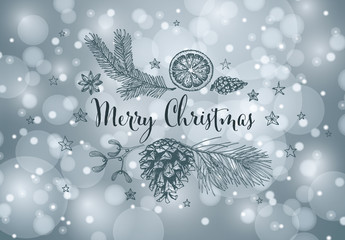 Christmas Card Layout with Hand Drawn Snowy Background