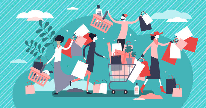 Shopping madness crowd flat tiny persons concept vector illustration