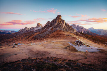 Majestic morning in Passo di Giau with peak Ra Gusela. Location place Dolomite Alps, Italy, Europe.
