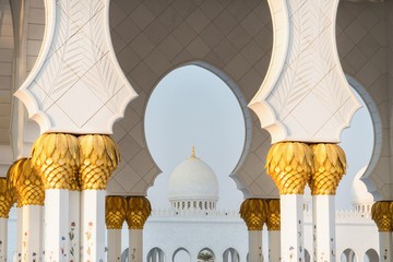 Close up view of Sheikh Zayed Grand Mosque, Abu Dhabi, United Arab Emirates. The third biggest mosque in the world.
