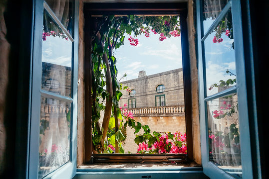 View from old house window with garden flowers and historical building behind. Romantic holidays concept