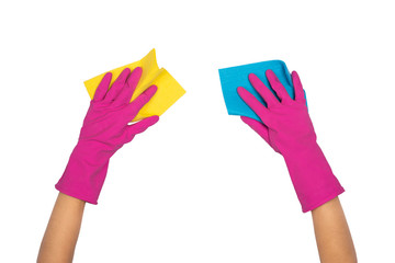 A hands in a gloves hold a microfiber cloth for washing and cleaning dishes