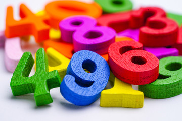 Math Number colorful on white background : Education study mathematics learning teach concept..