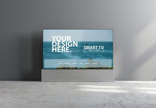 Smart Tv Mockup on Grey Wall