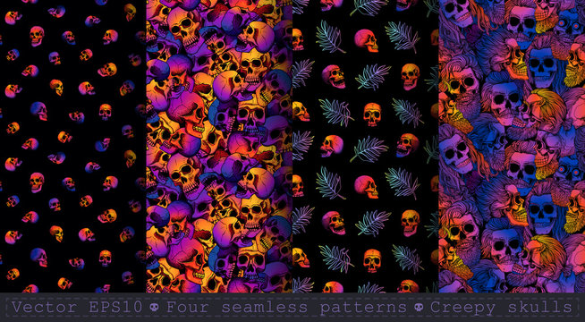 Four seamless patterns with bearded skulls and palm leaves. Gradient fill, bright trend colors: purple, orange, blue on a black background.  Halloween.