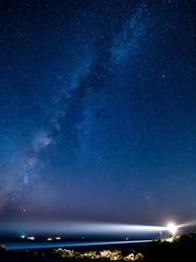 潮岬灯台と天の川(縦)