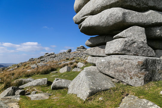 The Cheesewring, a spectacular granite tor on Bodmin moor in Cornwall near the village of Minions.