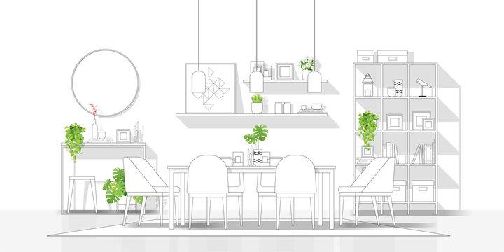 Interior design with modern dining room in black line sketch on white background , vector , illustration