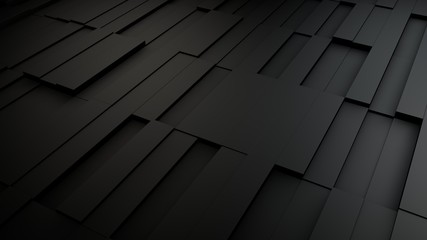 Wall Mural - Dark gray futuristic abstract cubes background, 3d render illustration