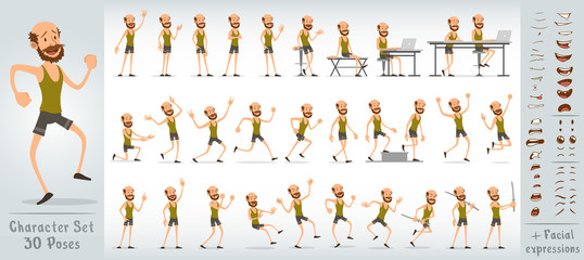 Cartoon funny cute sport boy character in shorts and shirt with beard. 30 different poses and face expressions. Isolated on white background. Big vector icon set.