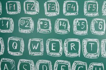 Photo of a computer keyboard drawn on a school blackboard