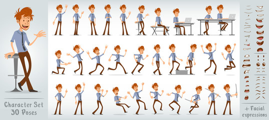 Cartoon funny cute office boy character in shirt with blue tie. 30 different poses and face expressions. Isolated on white background. Big vector icon set.