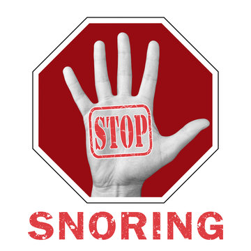 Stop snoring conceptual illustration. Open hand with the text stop snoring