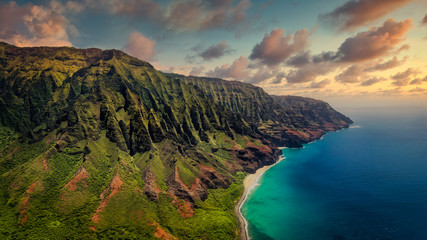 Aerial landscape view of spectacular Na Pali coast with dramatic sky, Kauai