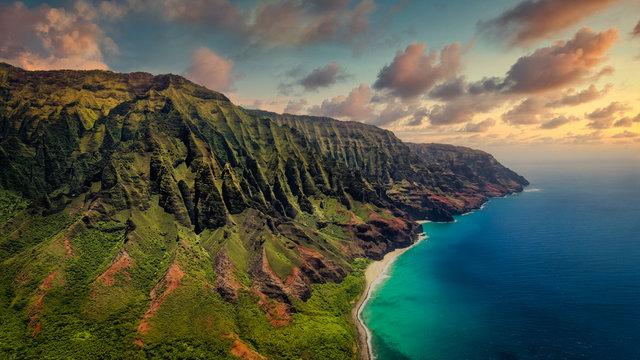 Aerial landscape view of spectacular Na Pali coast with dramatic sky, Kauai