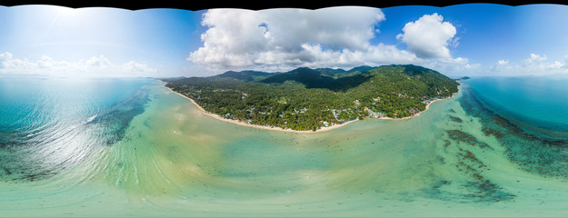 360 panoramic view from the air without the sky on the coastline of Koh Phangan island