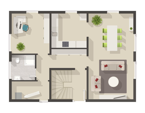 detailed floor plan with interior design