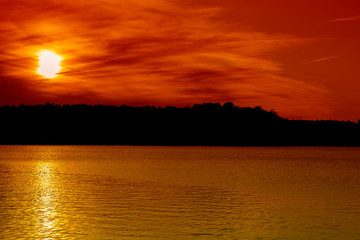 Printed roller blinds Cuban Red A scenic sunset view of Lake Norman in North Carolina.