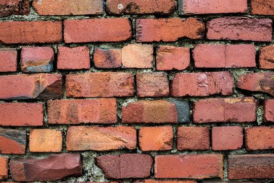 Close up of red brick wall