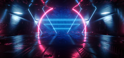Sci Fi Futuristic Schematic Chip Virtual Neon Laser Triangle Shaped Lines Glowing Purple Blue Tunnel Corridor Concrete Dark Night Stage Cyber 3D Rendering