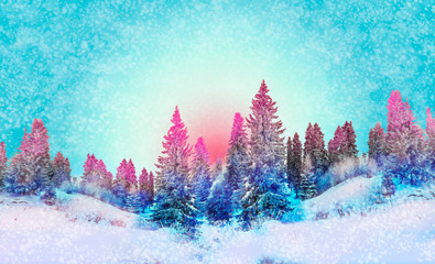 Poster Turkoois Winter landscape snowy trees beautiful sunset fanciful frosty trees Christmas trees