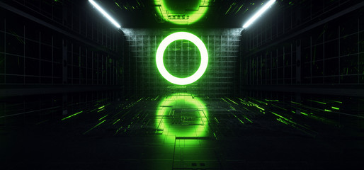 Sci Fi Futuristic Schematic Chip Virtual Neon Laser Circle Shaped Lines Glowing Green White Garage Corridor Concrete Dark Night Stage Cyber 3D Rendering