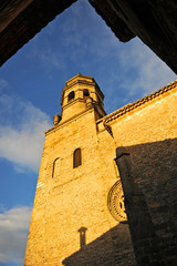 Cathedral of the Nativity of Our Lady (Natividad de Nuestra Señora) at sunset in Baeza. Renaissance town in Jaen province. World heritage site by Unesco. Andalusia, Spain