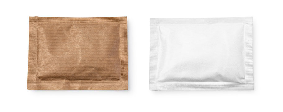 Small sugar packets isolated