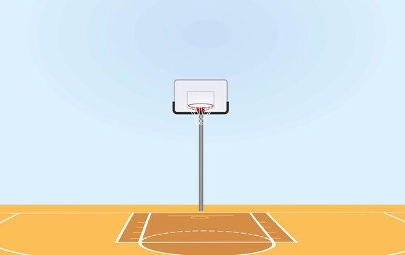 Basketball court. front view.  vector illustration